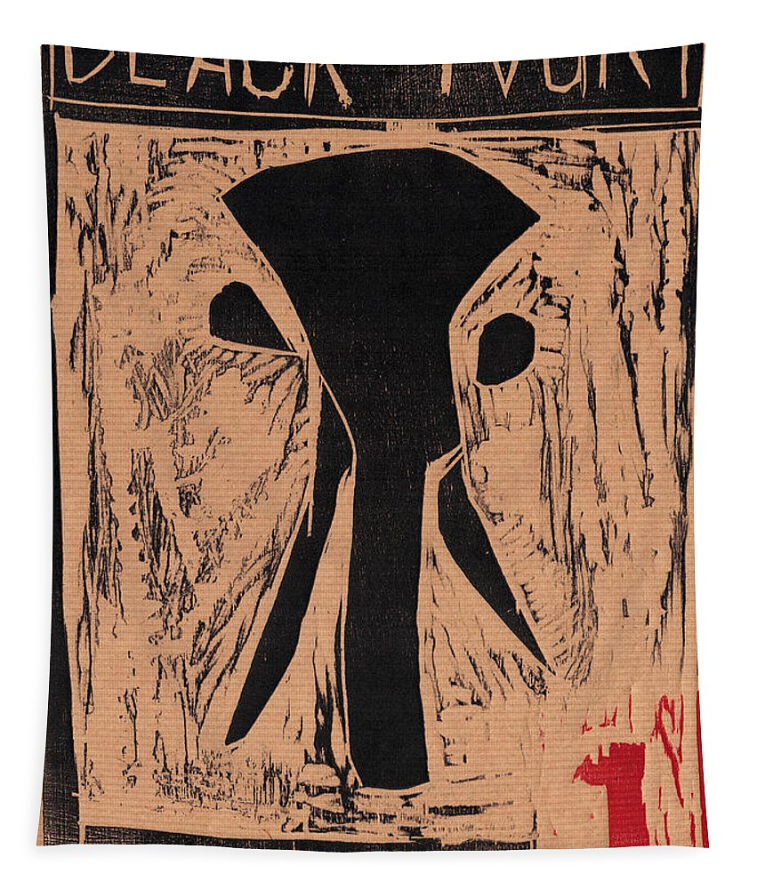 Woodcut Tapestry featuring the relief Black Ivory Issue 1 Woodcut by Artist Dot