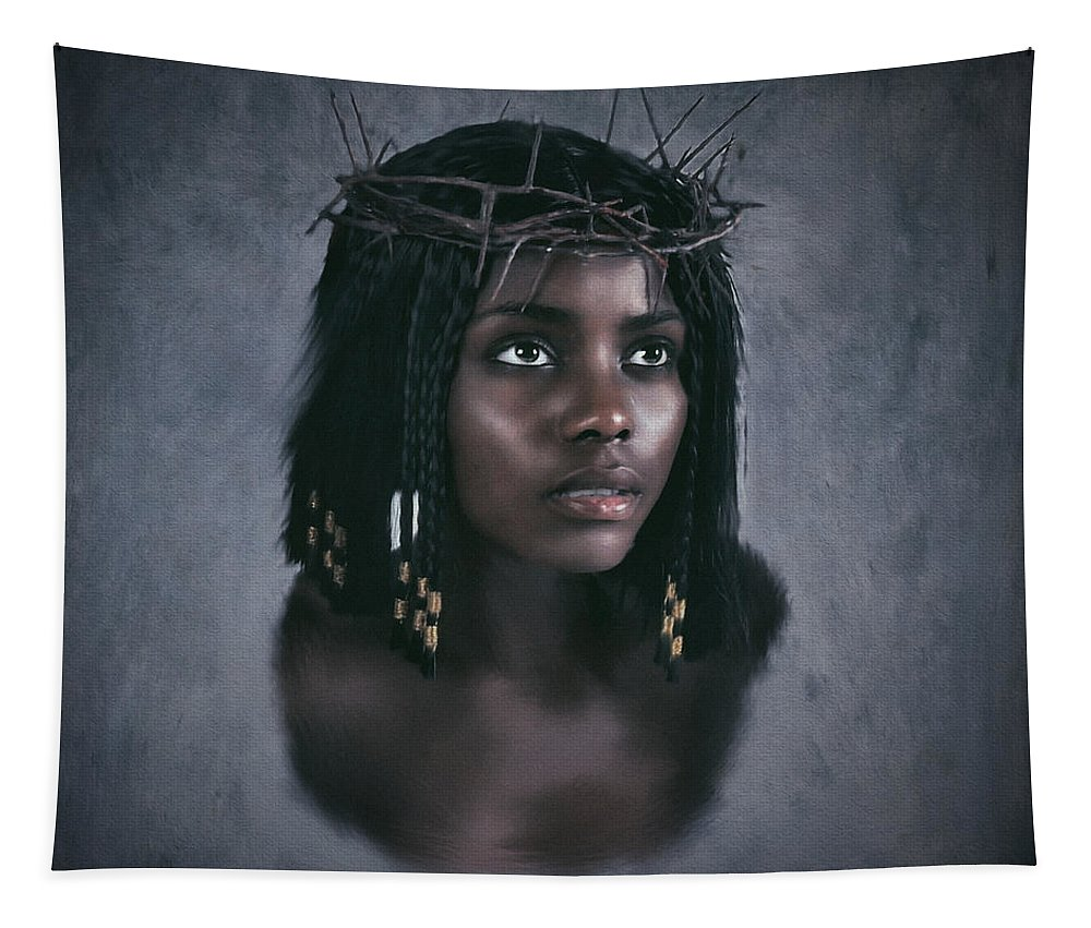 Texture Tapestry featuring the digital art Black Jesus Portrait V by Ramon Martinez