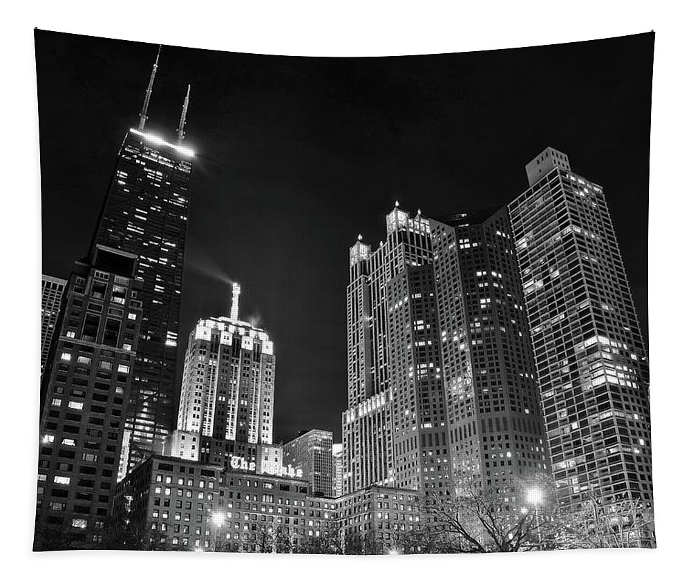 Chicago Tapestry featuring the photograph Black Night In The Windy City by Frozen in Time Fine Art Photography