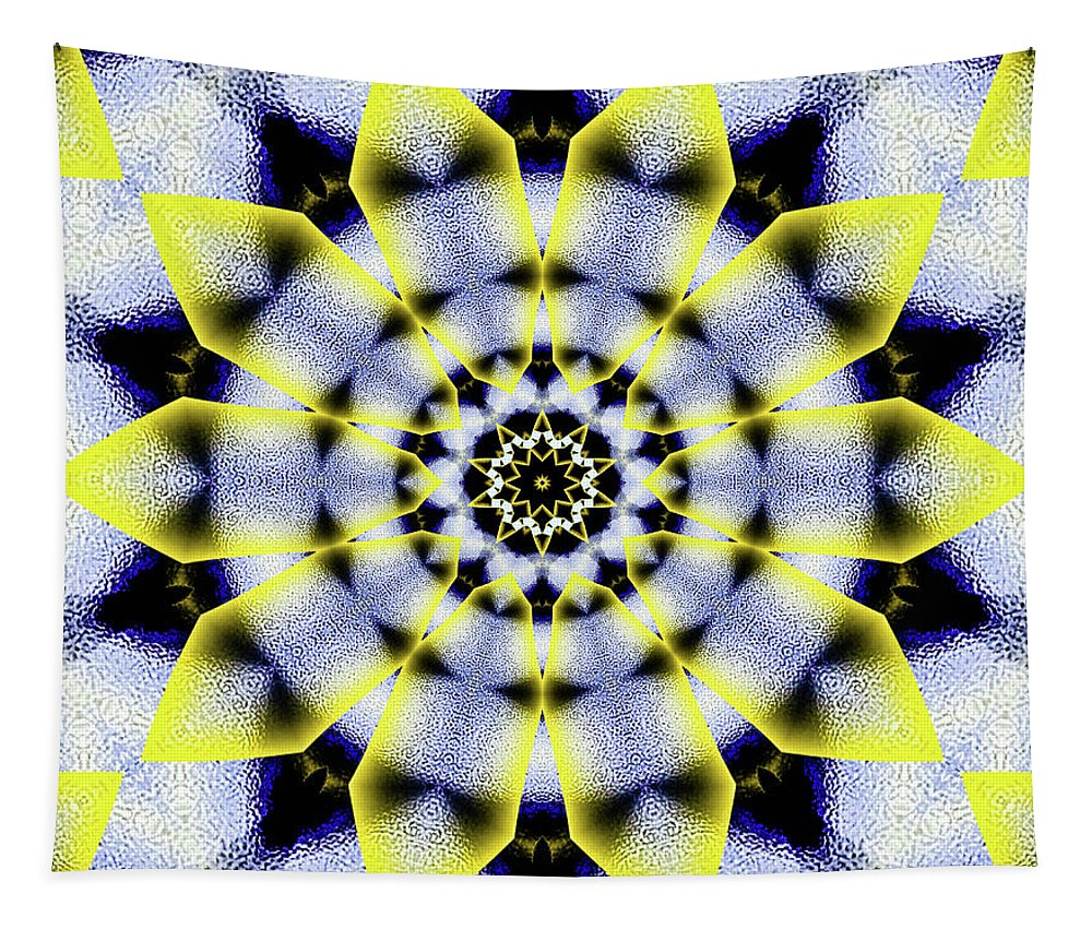 Black White And Yellow Sunflower Tapestry featuring the digital art Black, White And Yellow Sunflower by Raven Deem