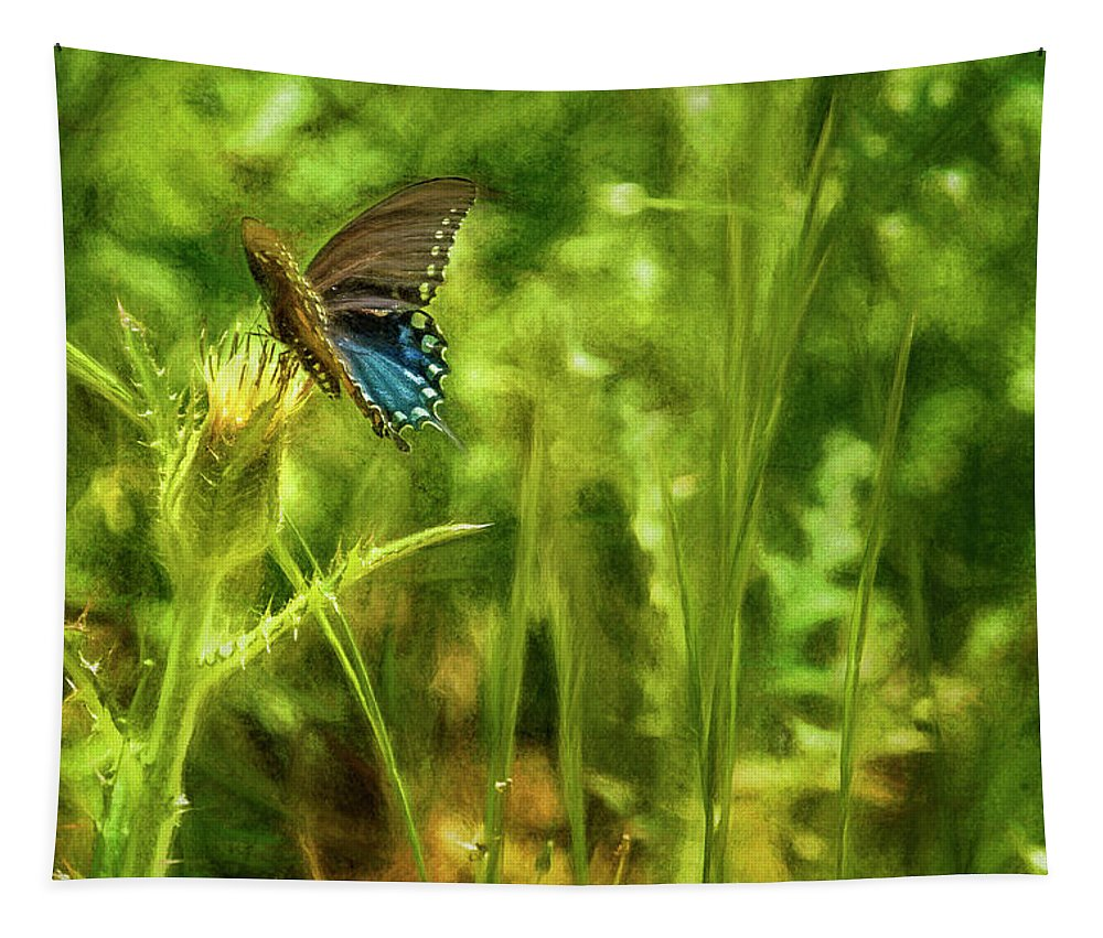 Black Swallowtail Tapestry featuring the photograph Black Swallowtail No. 2 Painterly by Belinda Greb