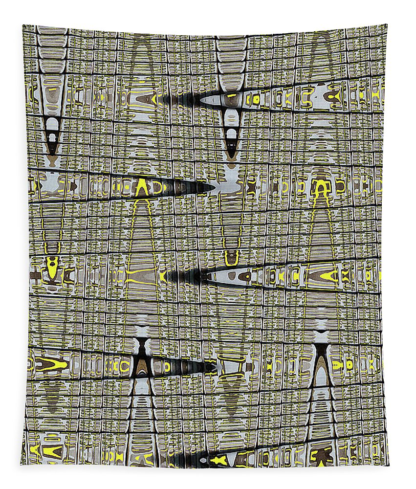 Black Walnut Drawing With Yellow Abstract Tapestry featuring the digital art Black Walnut Drawing With Yellow Abstract by Tom Janca