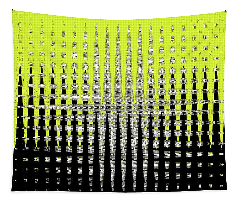 Black Yellow White With Abstract Action Tapestry featuring the digital art Black Yellow White With Abstract Action by Tom Janca