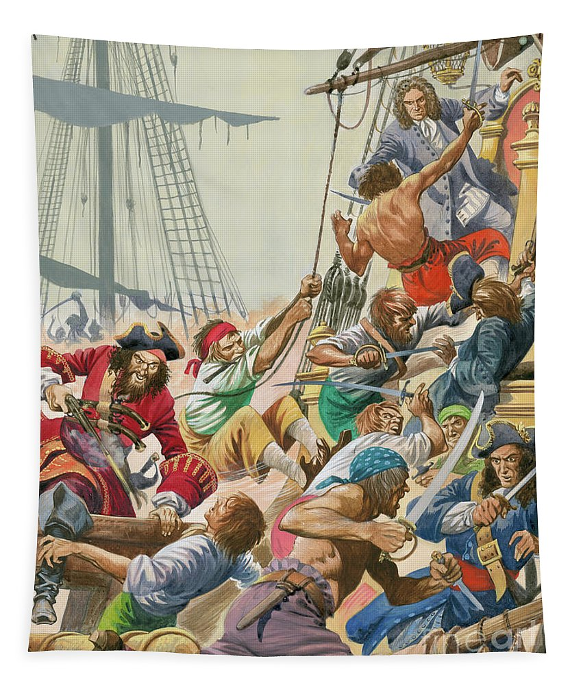 Blackbeard Tapestry featuring the painting Blackbeard And His Pirates Attack by Peter Jackson