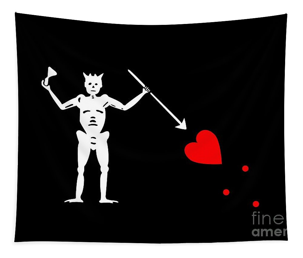 Tee Tapestry featuring the digital art Blackbeard Pirate Flag Tee by Edward Fielding