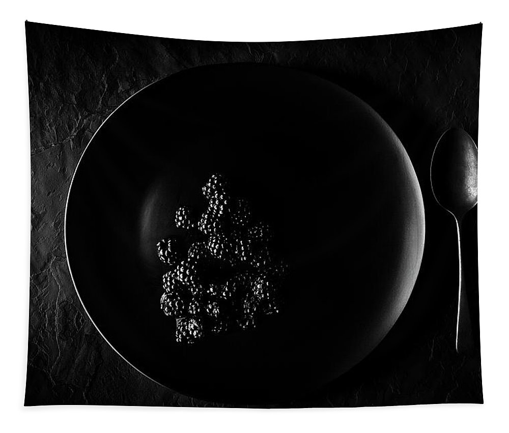 Blackberry Tapestry featuring the photograph Blackberries On Black Plate by Johan Swanepoel