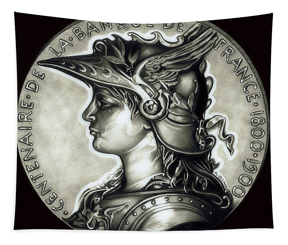 Coin Tapestry featuring the drawing Blackmarianne by Fred Larucci