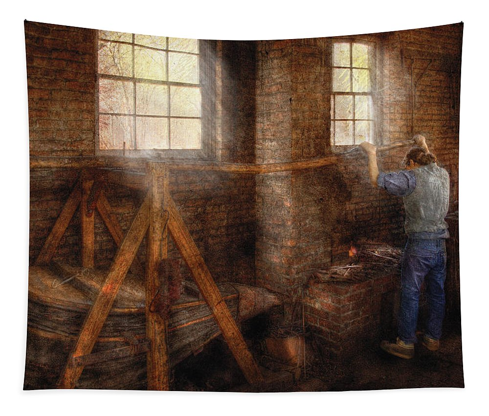 Savad Tapestry featuring the photograph Blacksmith - It's Getting Hot In Here by Mike Savad