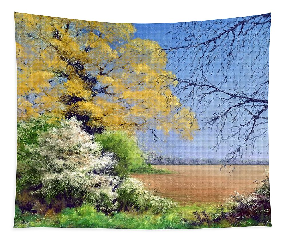 Landscape; Tree; Trees; Field; Nature; Rural; Countryside; Oak Tree; Picturesque; Grass; Blackthorn; Landscape Tapestry featuring the painting Blackthorn Winter by Anthony Rule