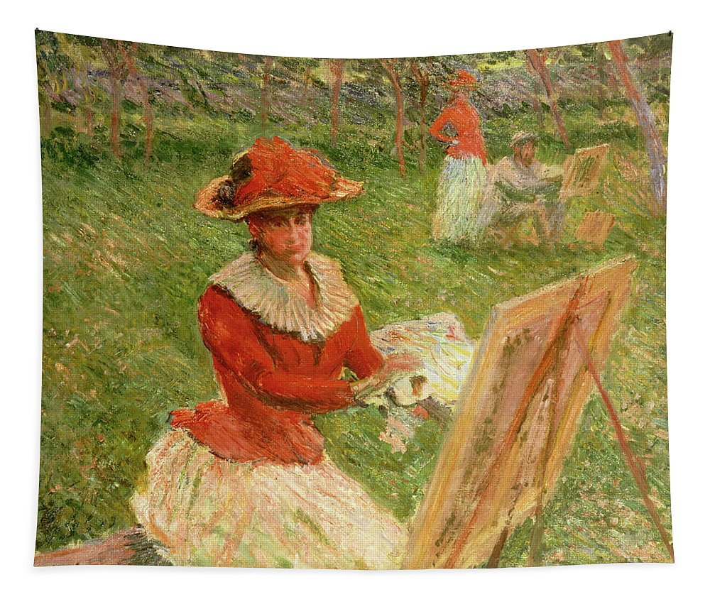 Monet Tapestry featuring the painting Blanche Hoschede Painting by Claude Monet