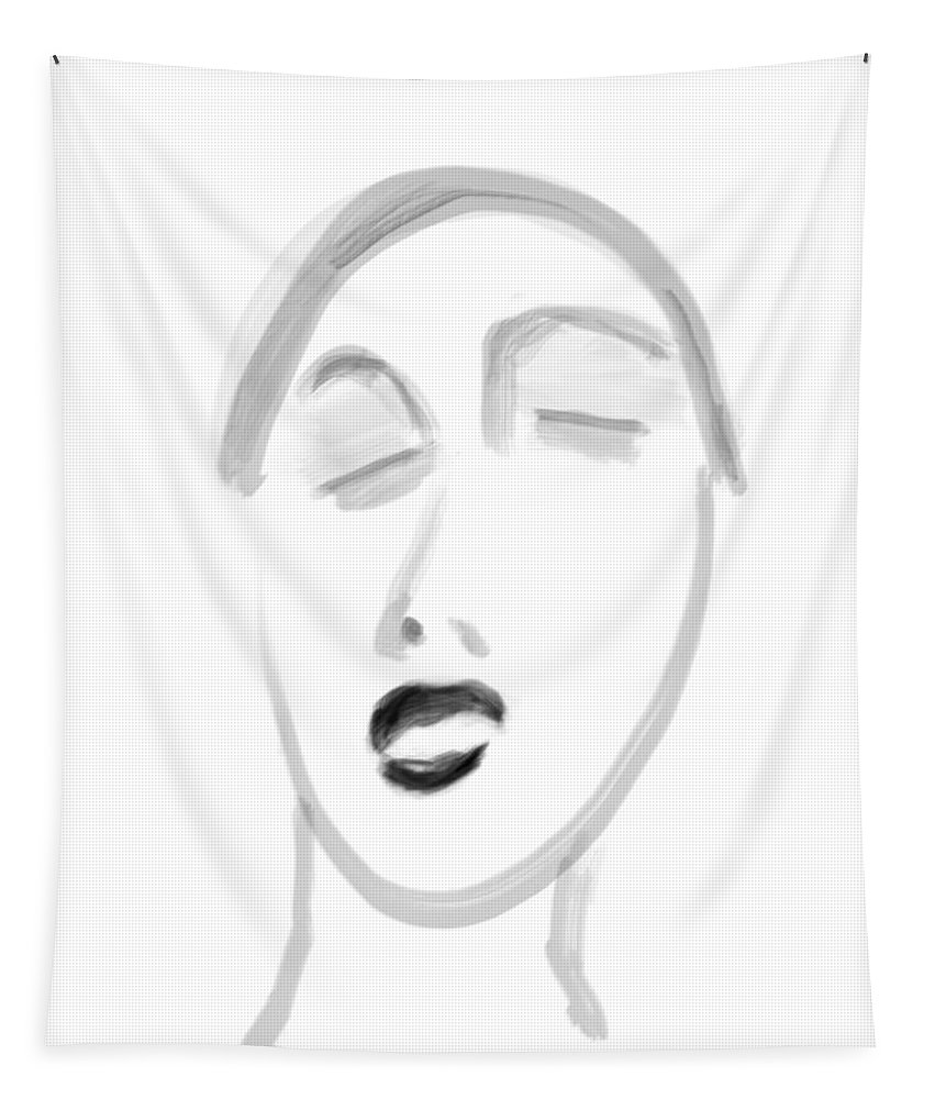 Apple Pencil Drawing Tapestry featuring the drawing Blissful by Bill Owen
