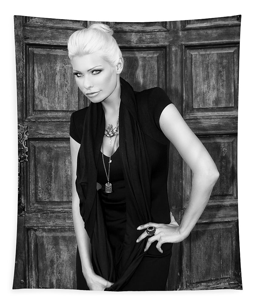 Blonde Tapestry featuring the photograph Blonde Attitude Bw Palm Springs by William Dey