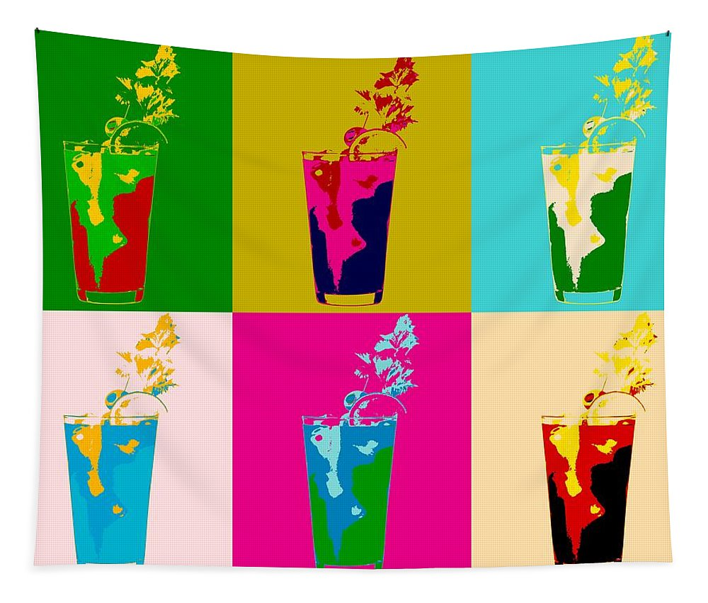 Bloody Mary Pop Art Panels Tapestry featuring the digital art Bloody Mary Pop Art Panels by Dan Sproul