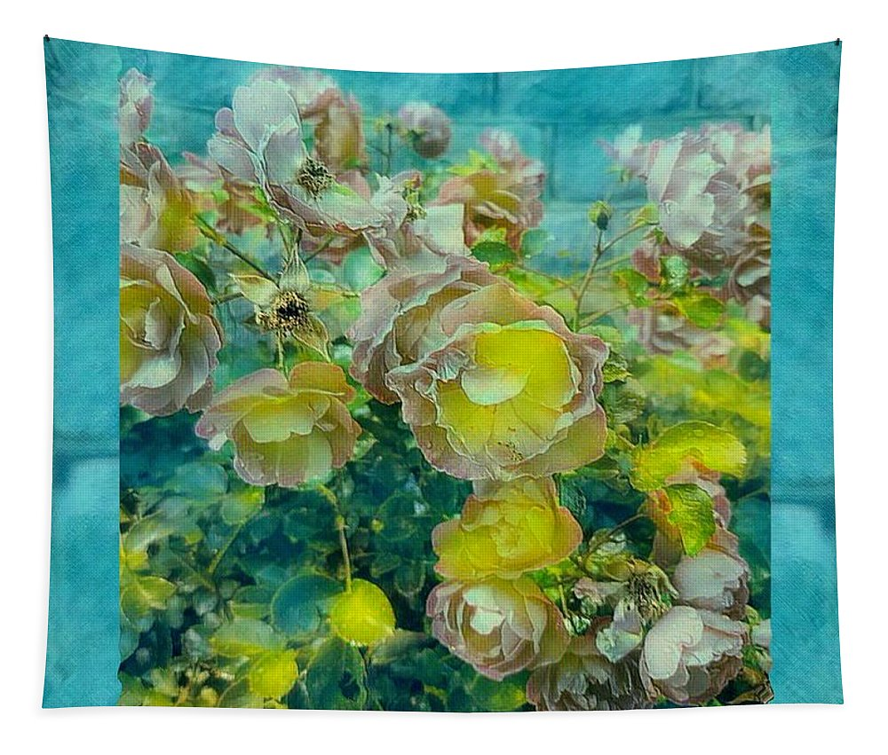 Flower Tapestry featuring the mixed media Bloom In Vintage Ornate Style by Pepita Selles