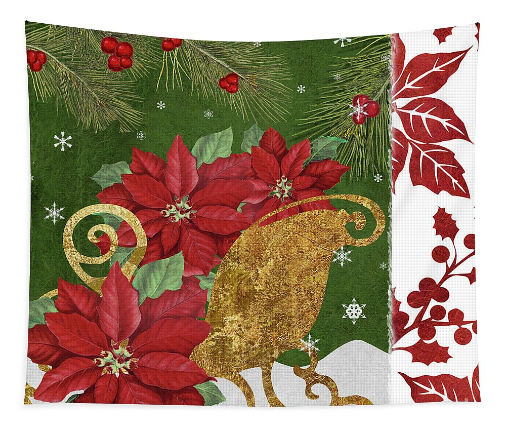 Christmas Tapestry featuring the painting Blooming Christmas I by Mindy Sommers