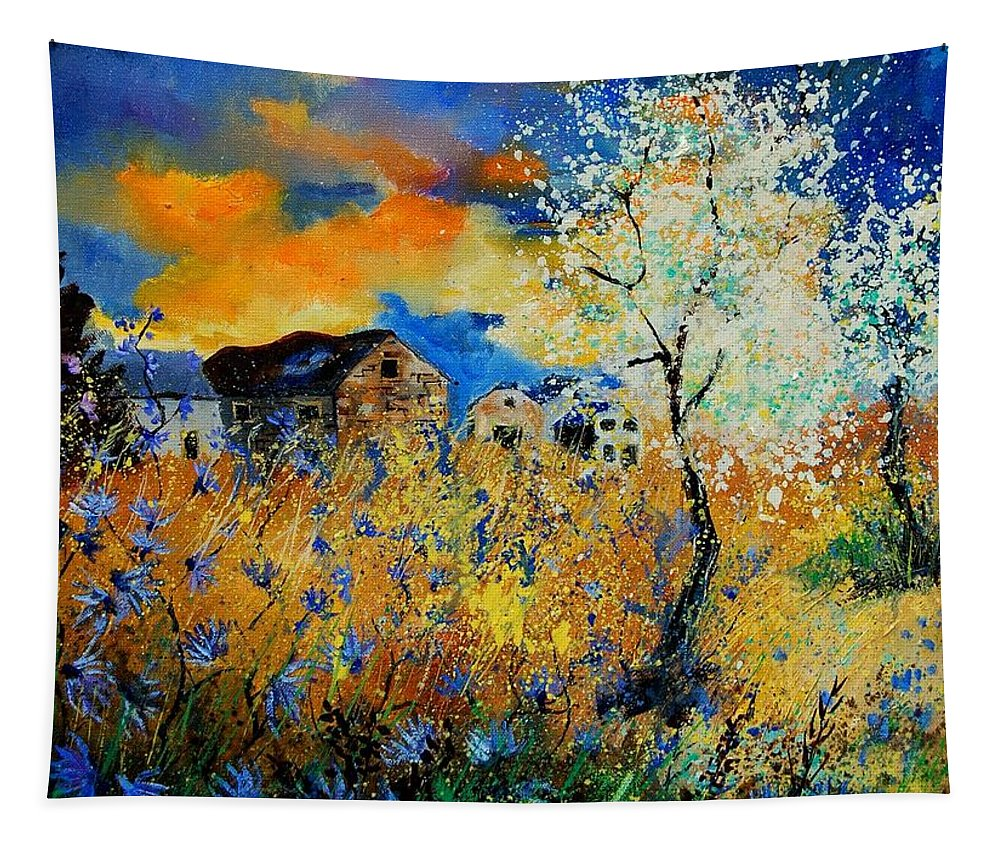 Poppies Tapestry featuring the painting Blooming trees by Pol Ledent
