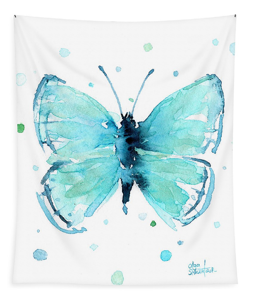 Watercolor Tapestry featuring the painting Blue Abstract Butterfly by Olga Shvartsur