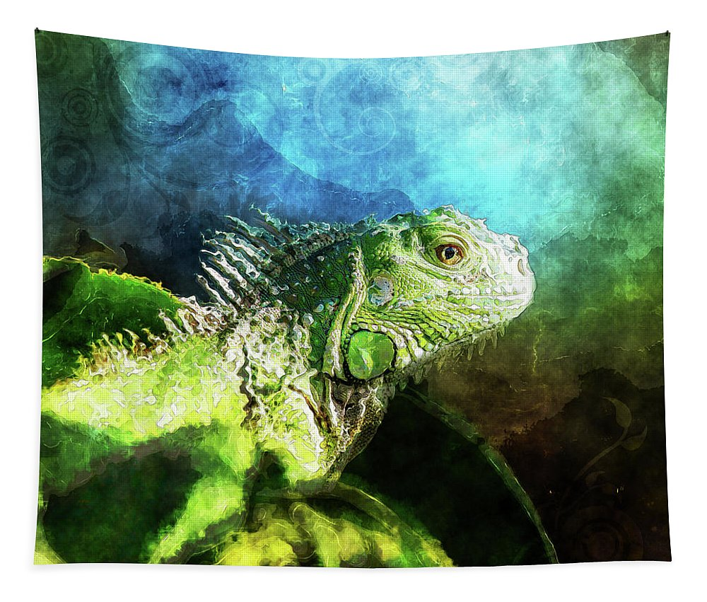 Iguana Tapestry featuring the digital art Blue And Green Iguana Profile by Phil Perkins