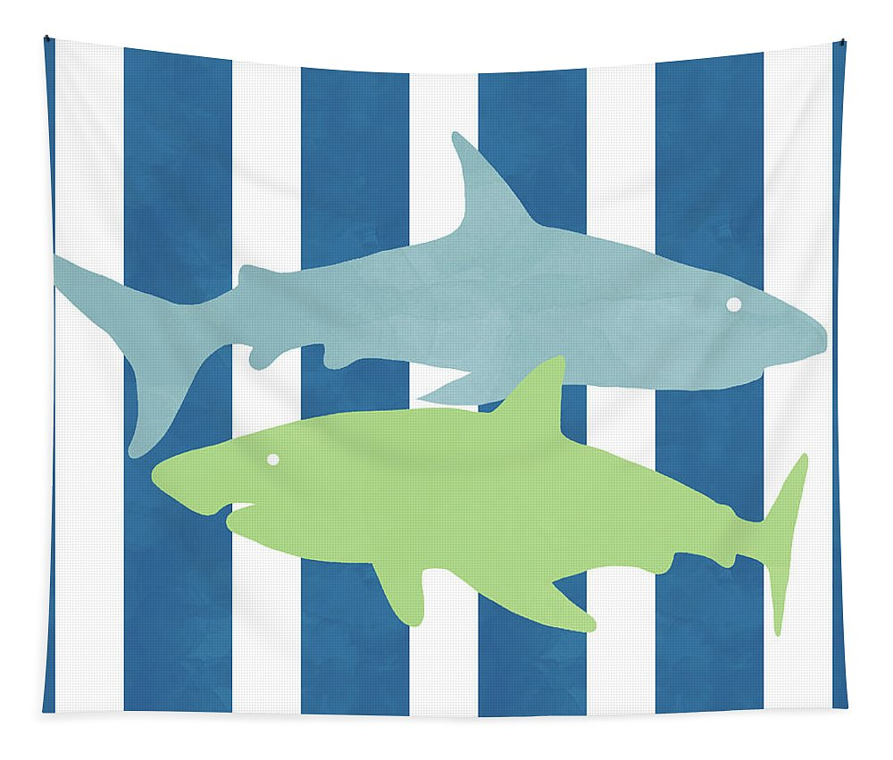 Shark Tapestry featuring the mixed media Blue And Green Sharks- Art By Linda Woods by Linda Woods