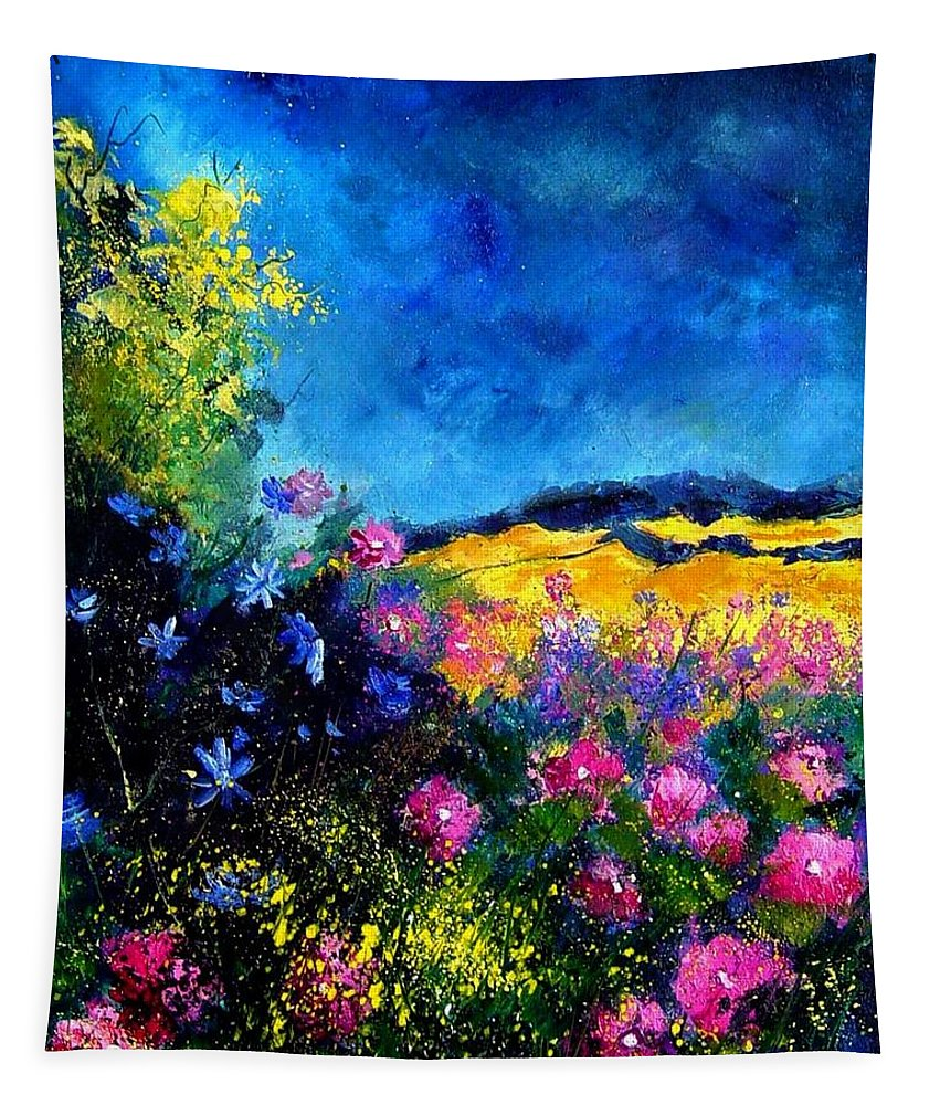 Landscape Tapestry featuring the painting Blue And Pink Flowers by Pol Ledent