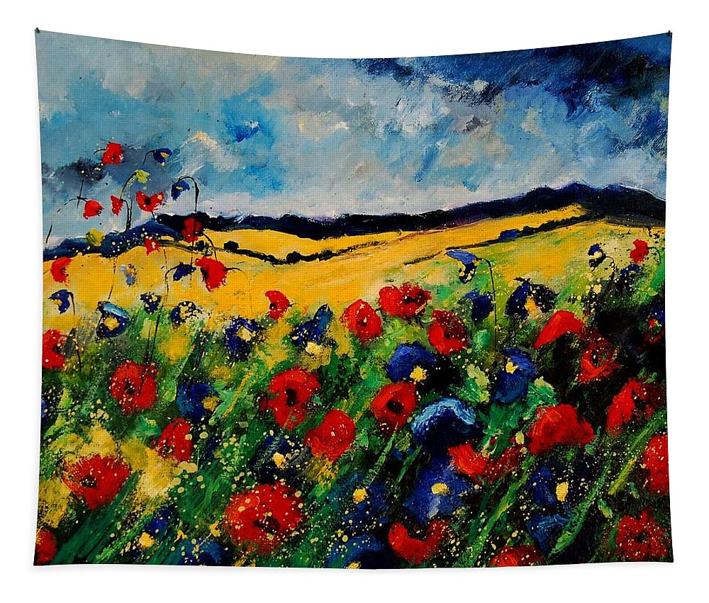 Poppies Tapestry featuring the painting Blue and red poppies 45 by Pol Ledent