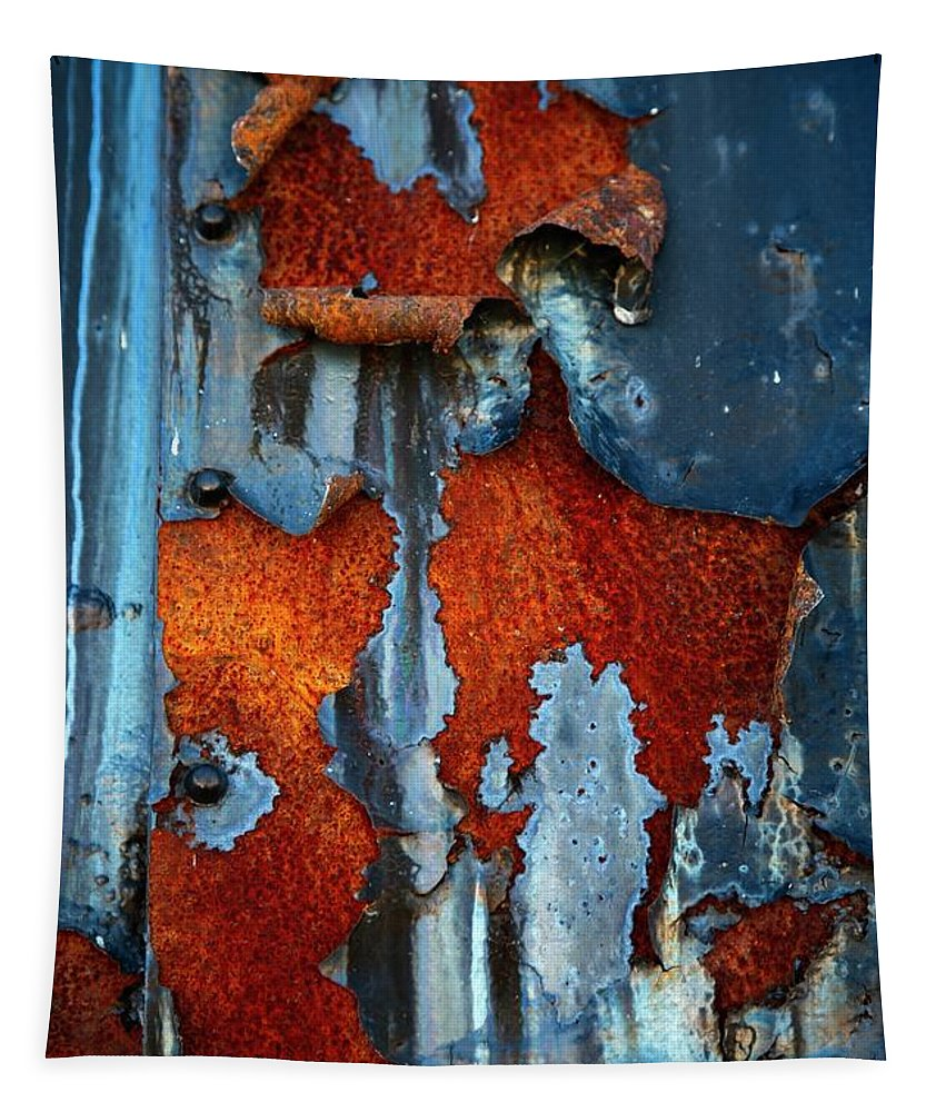 Rusty Pieces Tapestry featuring the photograph Blue And Rust by Karol Livote