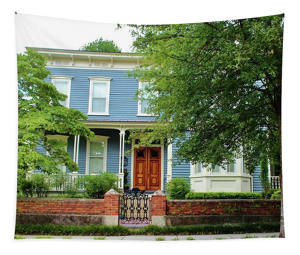 Outdoor Tapestry featuring the photograph Blue And White House by Cynthia Guinn