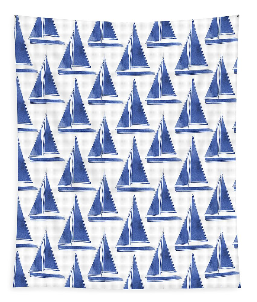 Boats Tapestry featuring the digital art Blue And White Sailboats Pattern- Art By Linda Woods by Linda Woods