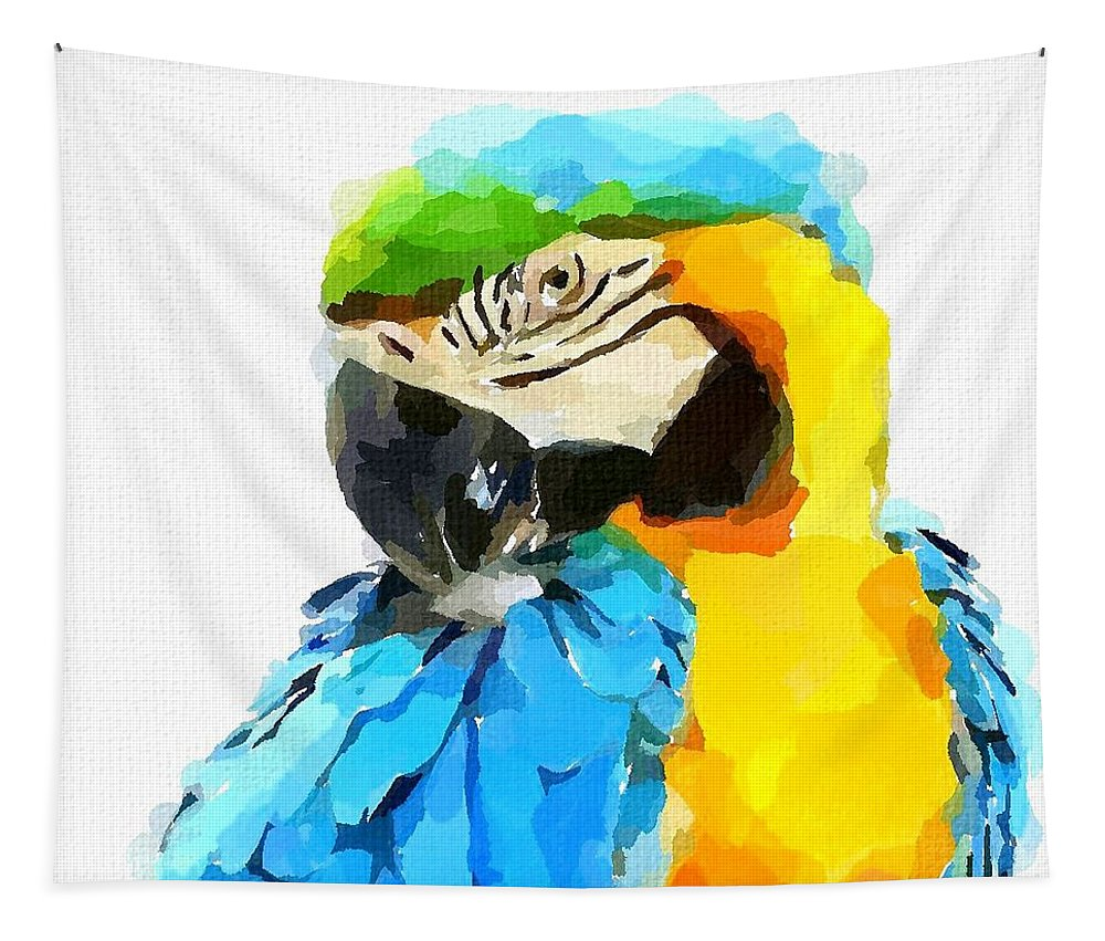 Blue And Yellow Macaw Tapestry featuring the painting Blue And Yellow Macaw by Chris Butler