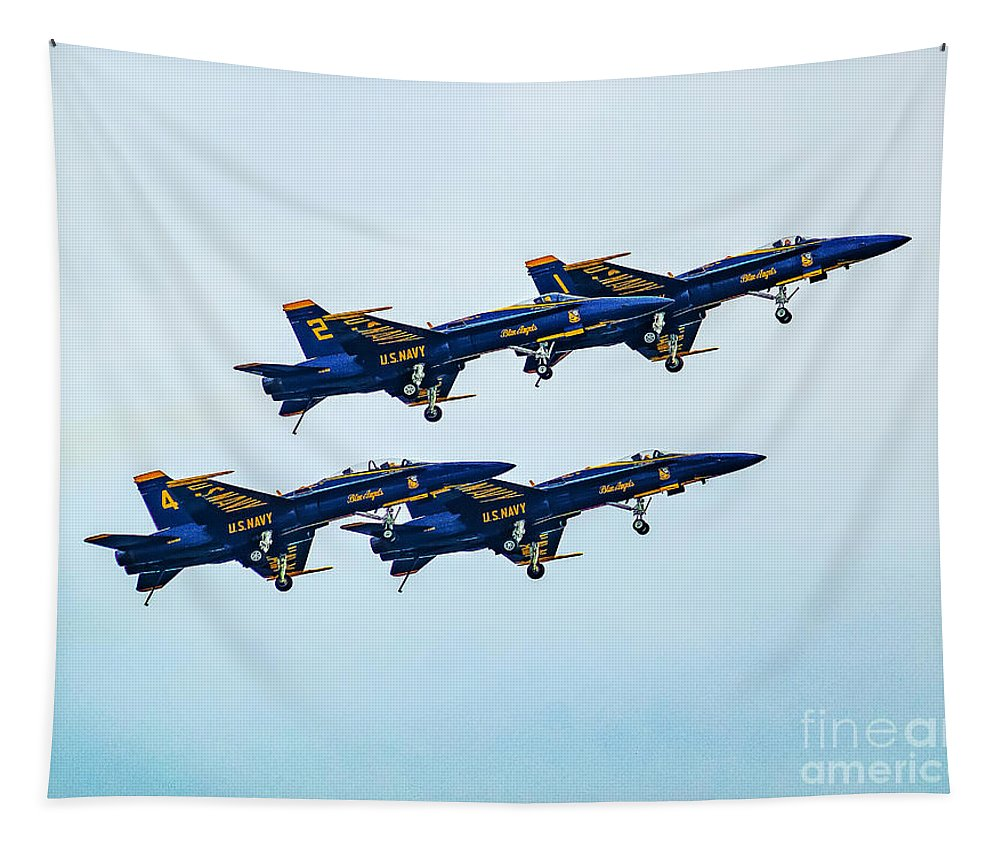 Air Tapestry featuring the photograph Blue Angels Carrier Landing by Nick Zelinsky