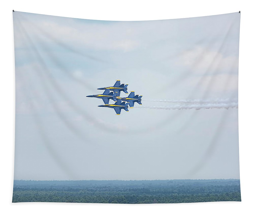 Blue Angels Tapestry featuring the photograph Blue Angels Four-ship Formation by Kay Brewer