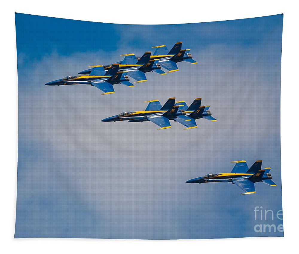 America Tapestry featuring the photograph Blue Angels by Inge Johnsson