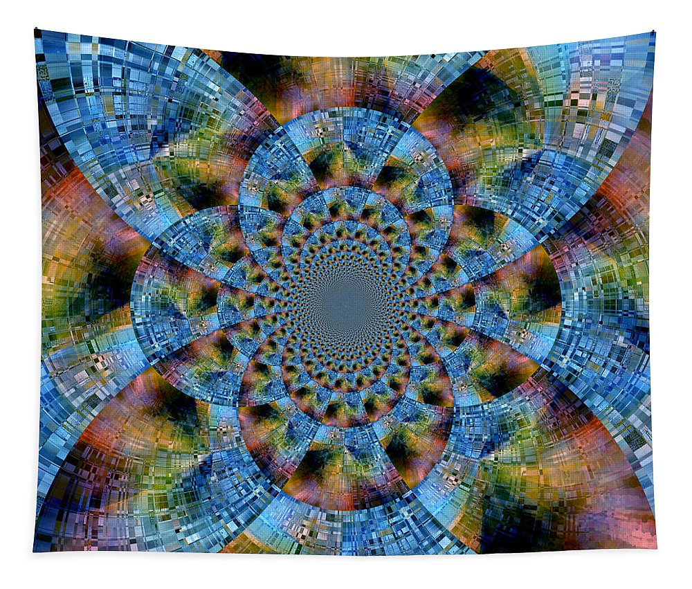 Abstract Tapestry featuring the digital art Blue Bling by Ruth Palmer