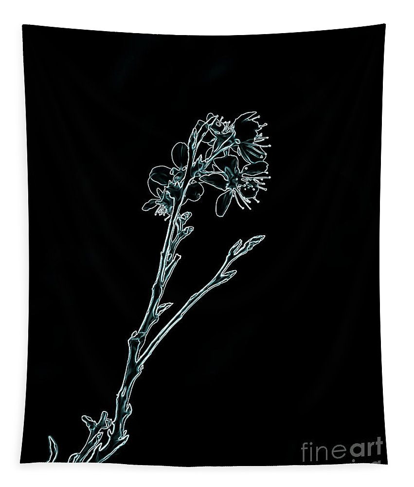 Abstract Tapestry featuring the digital art Blue Blossoming Branch In Prayer by Brenda Landdeck