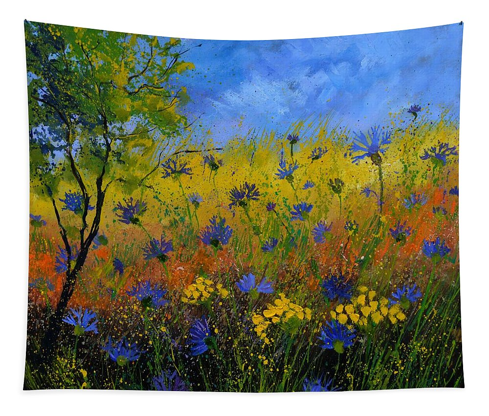 Flowers Tapestry featuring the painting Blue cornflowers 7761 by Pol Ledent
