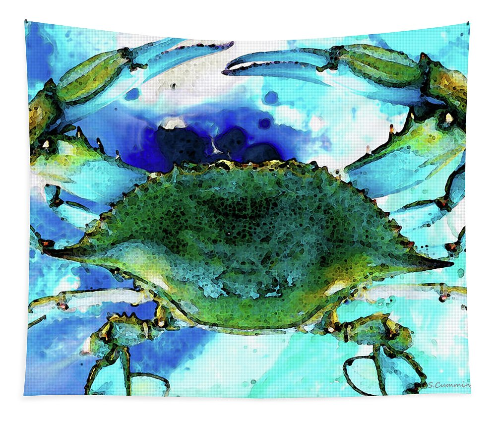 Crab Tapestry featuring the painting Blue Crab - Abstract Seafood Painting by Sharon Cummings