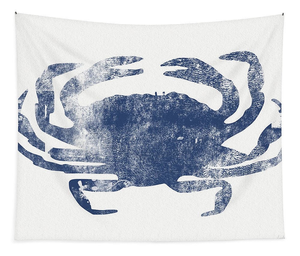 Cape Cod Tapestry featuring the painting Blue Crab- Art by Linda Woods by Linda Woods