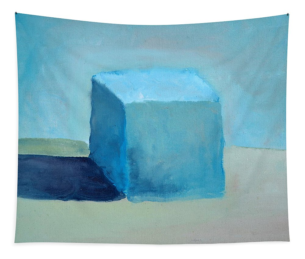 Blue Tapestry featuring the painting Blue Cube Still Life by Michelle Calkins