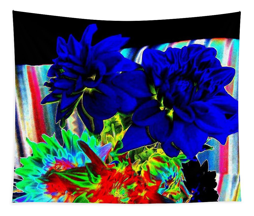 Abstract Tapestry featuring the digital art Blue Dahlias by Will Borden
