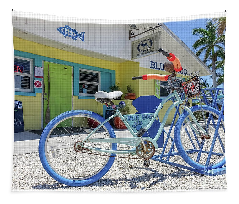 Florida Tapestry featuring the photograph Blue Dog Matlacha Island Florida by Edward Fielding