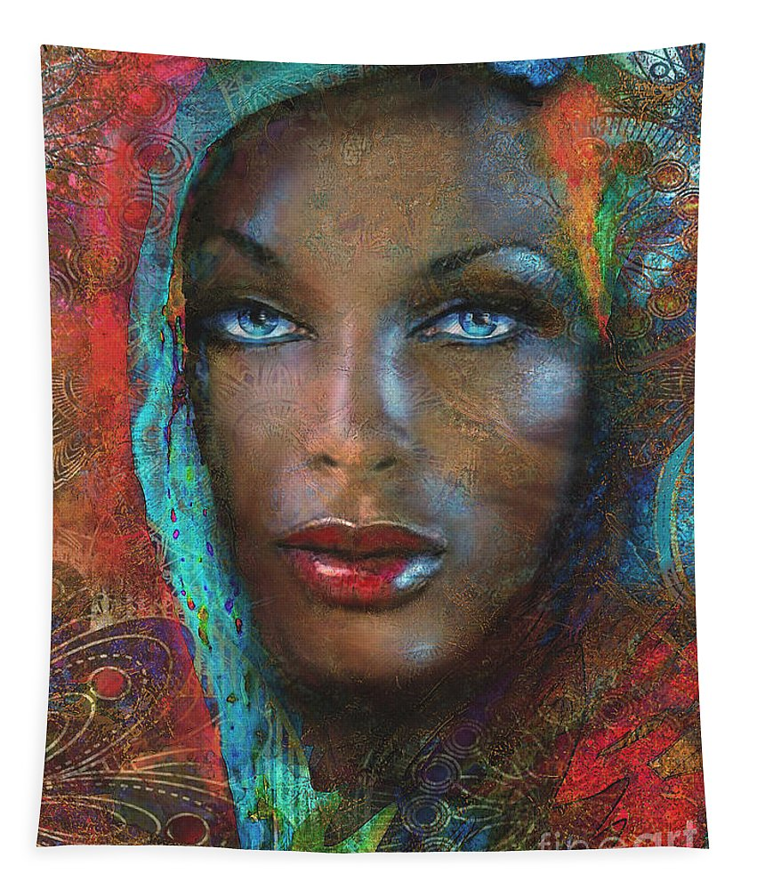 Woman Tapestry featuring the painting Blue Eyes Dark Oriental by Angie Braun