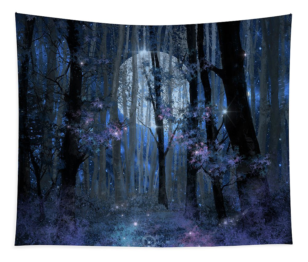 Forest Tapestry featuring the painting Blue Forest by Bekim Art