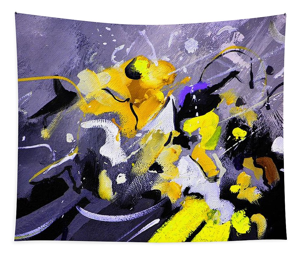 Abstract Tapestry featuring the painting Blue Galactic Motion by Pol Ledent