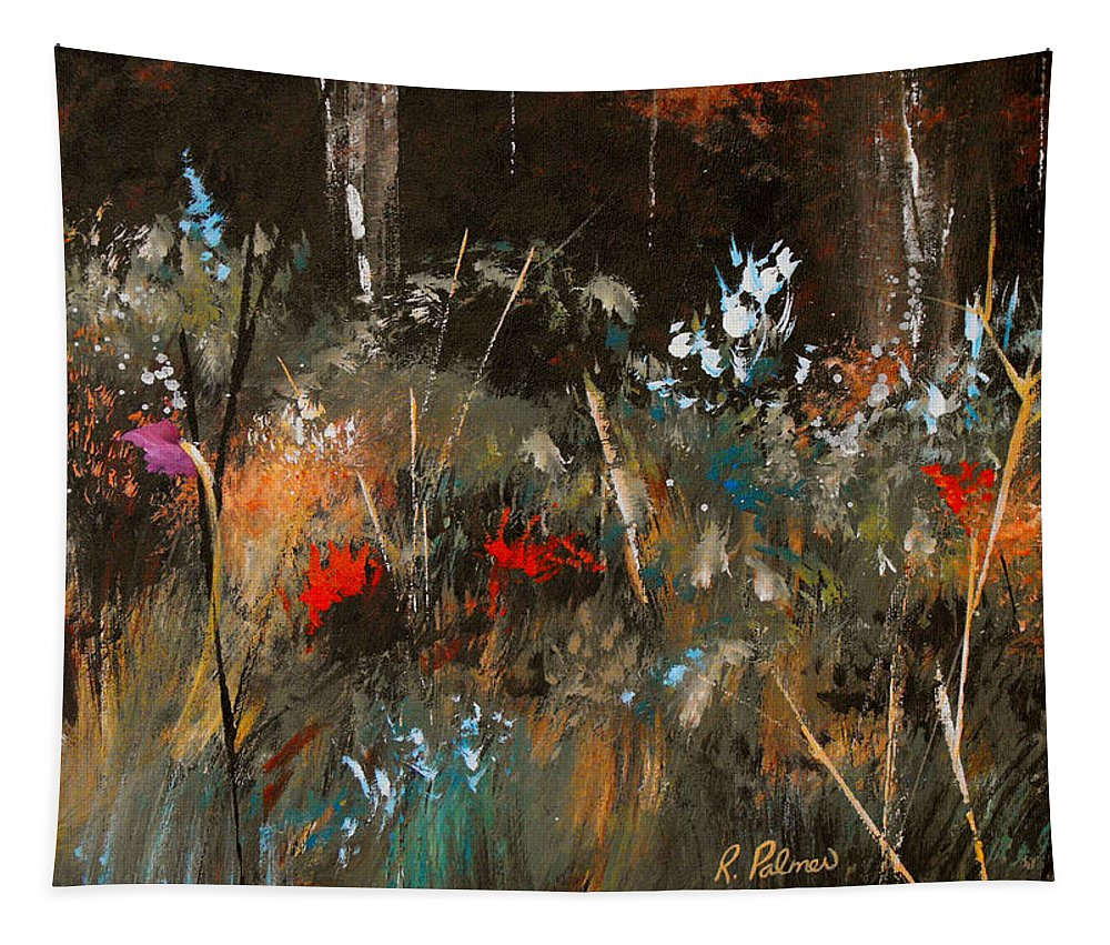 Abstract Tapestry featuring the painting Blue Grass And Wild Flowers by Ruth Palmer