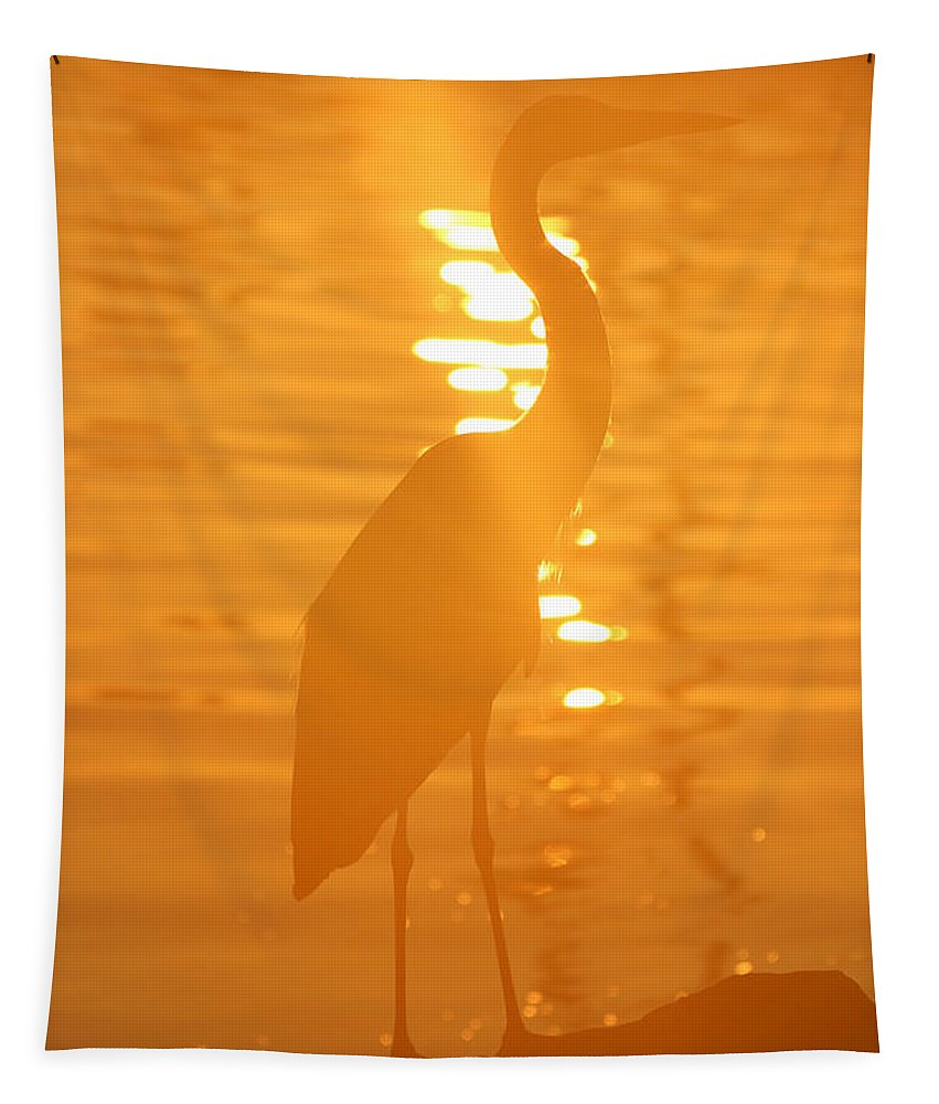 Great Blue Heron Tapestry featuring the photograph Blue Heron Sunrise by Rachel Morrison