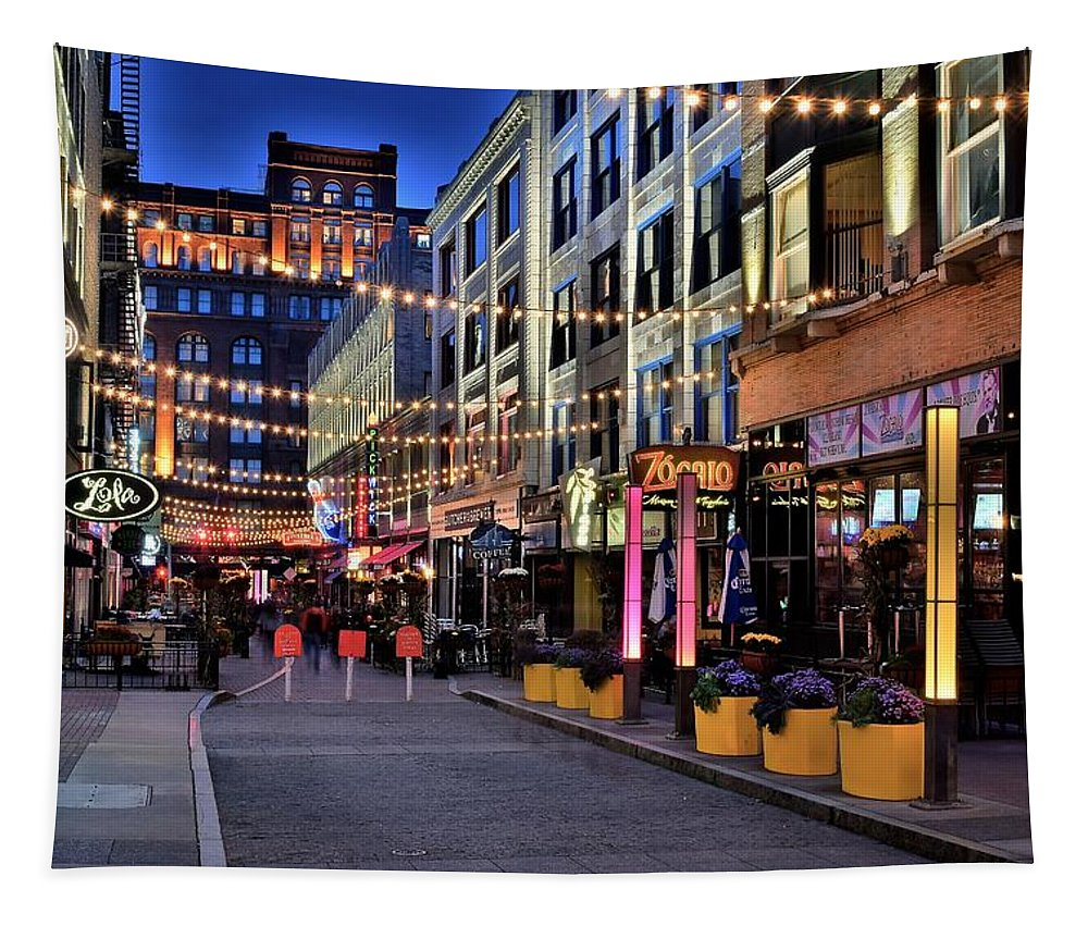 Cleveland Tapestry featuring the photograph Blue Hour At East Fourth by Frozen in Time Fine Art Photography