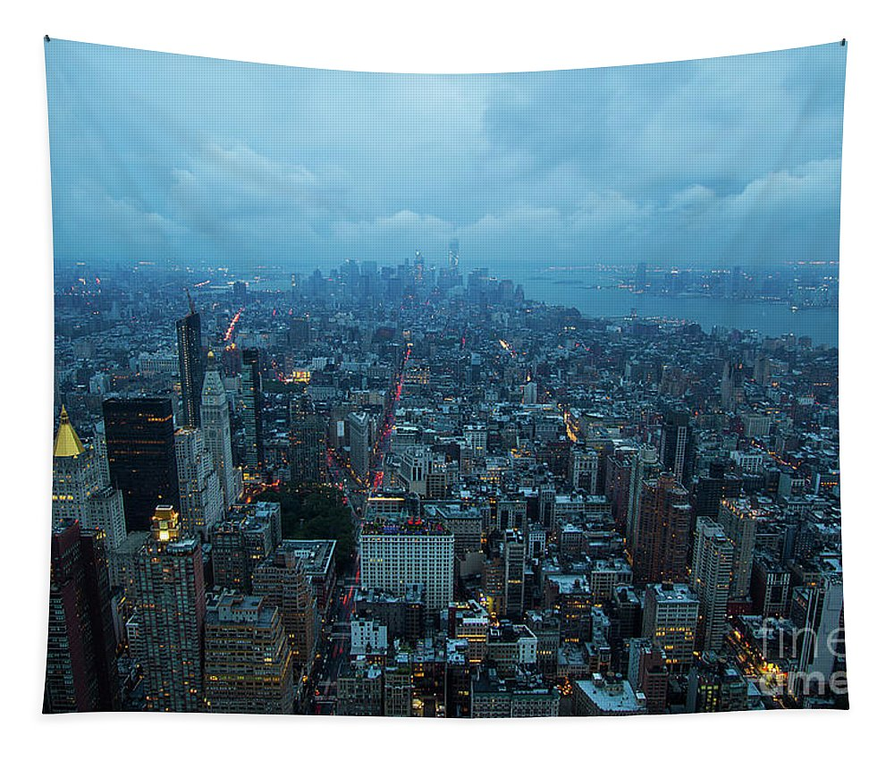 Cityscape Tapestry featuring the photograph Blue Hour In New York by Mirko Chianucci