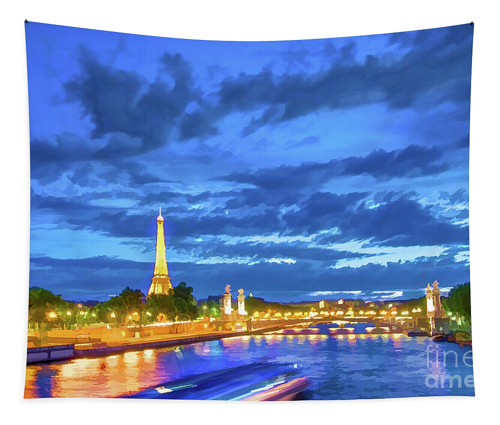 Paris Tapestry featuring the painting Blue Hour In Paris by Delphimages Photo Creations