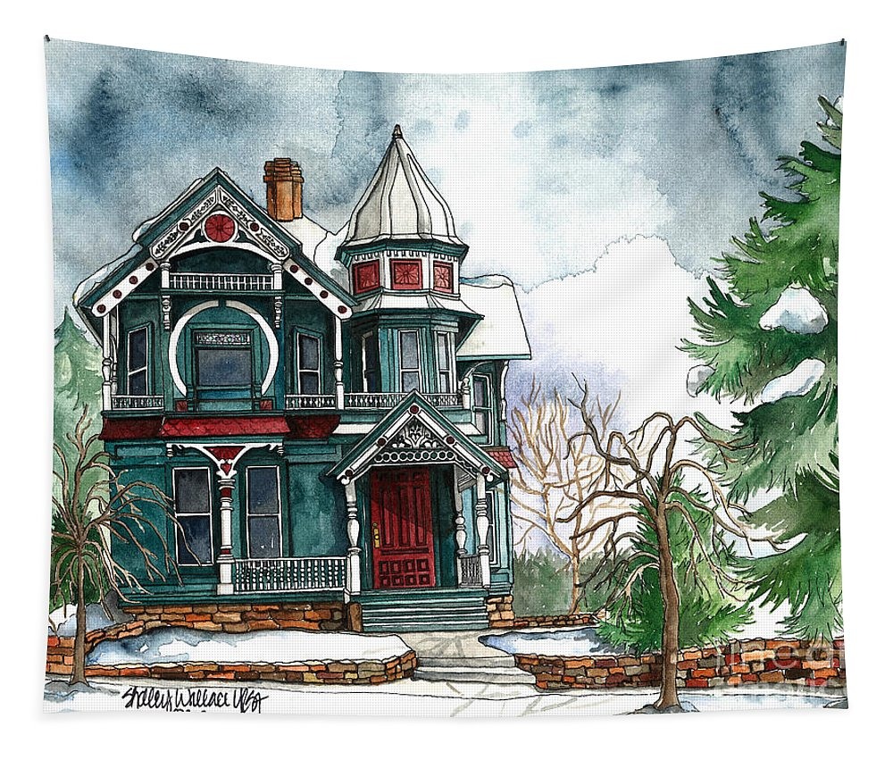 Victorian Tapestry featuring the painting Blue House On A Grey Day by Shelley Wallace Ylst