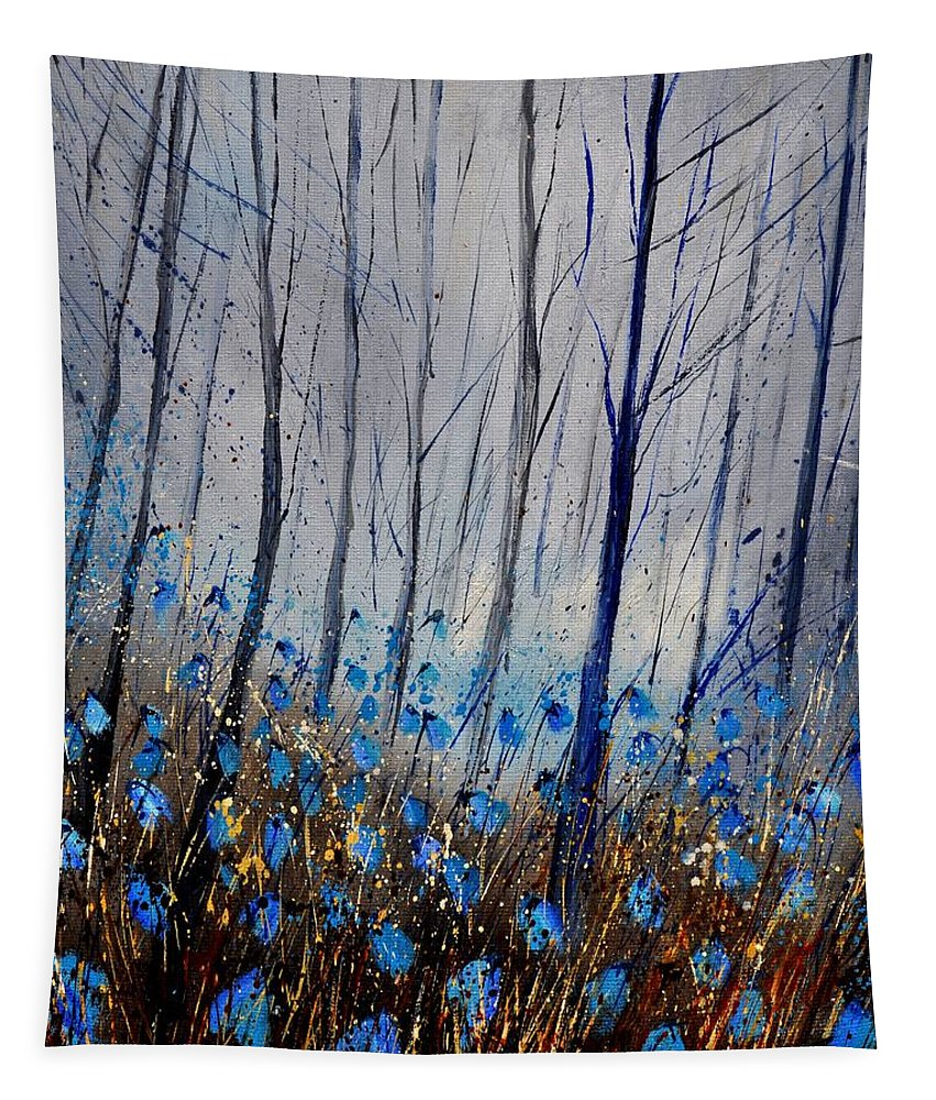 Flowers Tapestry featuring the painting Blue In The Wood by Pol Ledent